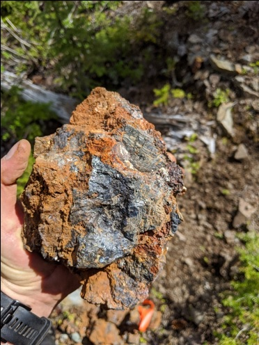 A grab sample of galena-sphalerite-chalcopyrite from an outcrop along trend
